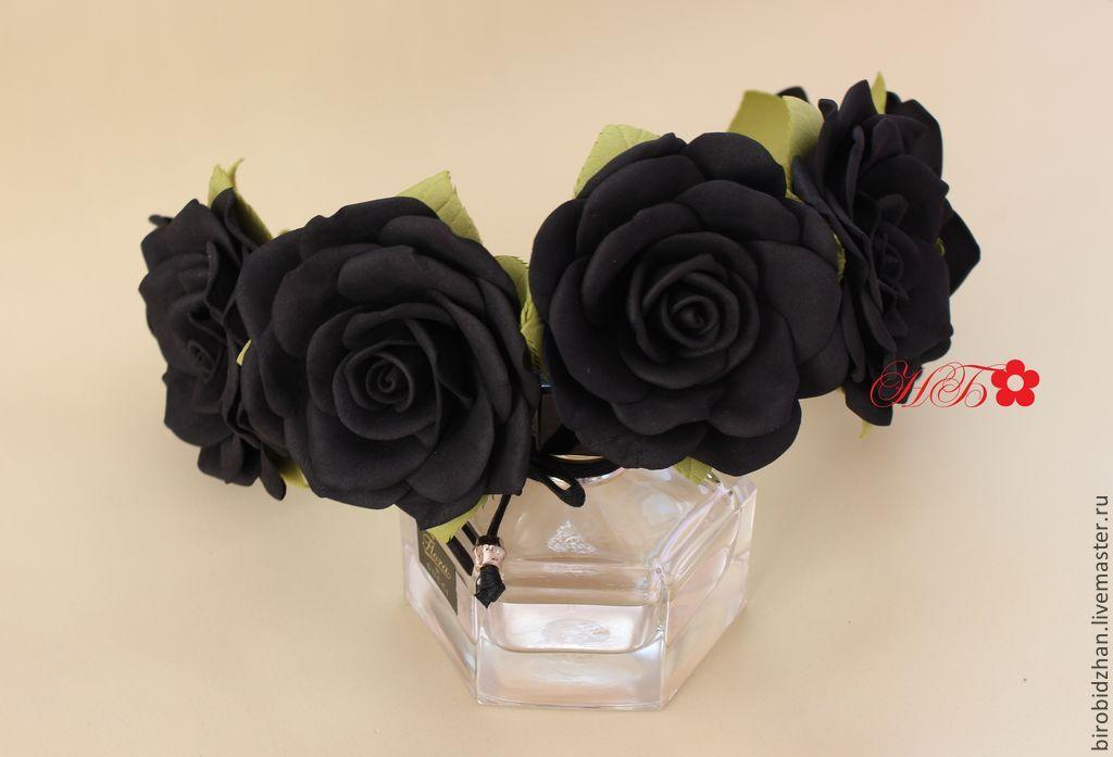 Цветы из черного фоамирана