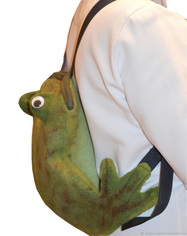 Backpack children's felted Frog-traveler, Bags, Serpukhov, Фото №1