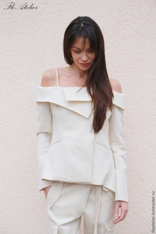 Костюмы ручной работы. Ярмарка Мастеров - ручная работа. Купить Элегантный женский пиджак/Пиджак с открытой спиной/ F1550. Handmade. Белый