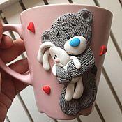 Подарки к праздникам ручной работы. Ярмарка Мастеров - ручная работа Кружка с Тедди и зайкой. Handmade.