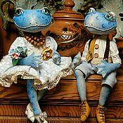 Dolls handmade. Livemaster - original item A couple of blue frog. textile doll.. Handmade.