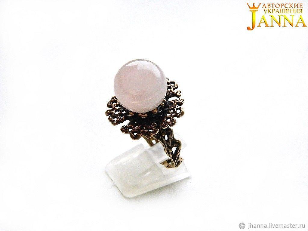 Rose quartz.  ' Merisa' ring with pink quartz, Rings, Volgograd,  Фото №1