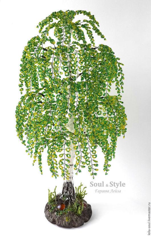 """Деревья ручной работы. Ярмарка Мастеров - ручная работа. Купить Дерево """"Береза"""" из бисера, зеленое. Handmade. Зеленый, подарок"""