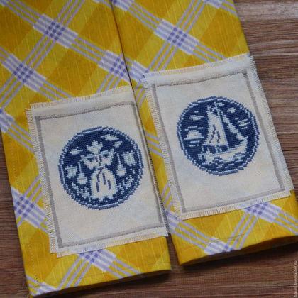 Кухня ручной работы. Ярмарка Мастеров - ручная работа. Купить Салфетки сервировочные (ланчмат) с ручной вышивкой. Делфтский фарфор. Handmade.