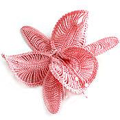 """Украшения ручной работы. Ярмарка Мастеров - ручная работа Ободок, заколка, резинка для волос с вязаным цветком орхидеи """"Розовая"""". Handmade."""