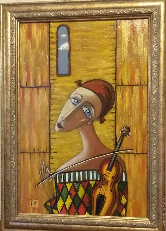 Фантазийные сюжеты ручной работы. Ярмарка Мастеров - ручная работа. Купить девушка со скрипкой, холст на подрамнике 20х30, масло. Handmade.