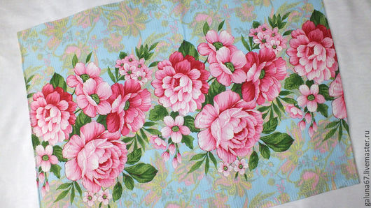 """Кухня ручной работы. Ярмарка Мастеров - ручная работа. Купить """"Пионы"""" 2 полотенца вафельных. Handmade. Полотенце, цветы, голубой"""