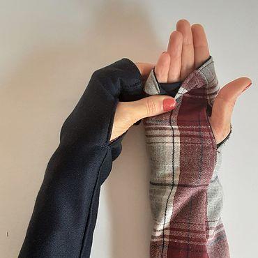 Аксессуары ручной работы. Ярмарка Мастеров - ручная работа Митенки двухсторонние в клетку,митенки шерстяные,перчатки трикотажные. Handmade.