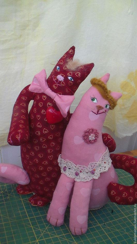 Коллекционные куклы ручной работы. Ярмарка Мастеров - ручная работа. Купить Влюбленные коты. Handmade. Бордовый, игрушка в подарок