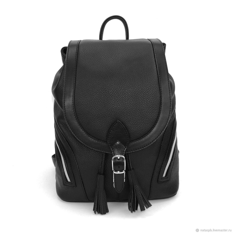 Women's leather backpack black Valencia Mod P50-111, Backpacks, St. Petersburg,  Фото №1
