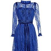 Одежда ручной работы. Ярмарка Мастеров - ручная работа Платье синее из гипюра, платье из тонкого кружева. Handmade.