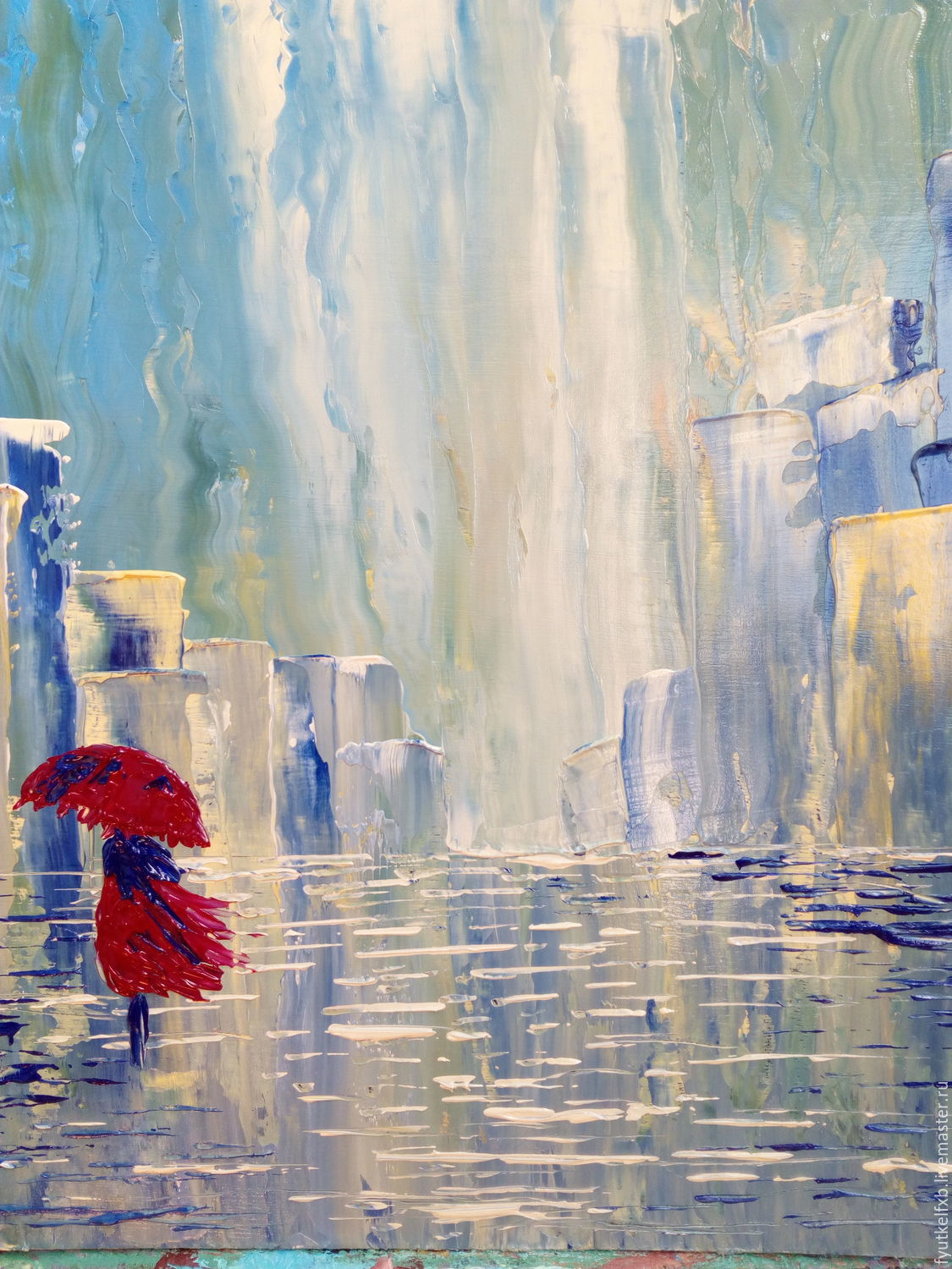 Painting with rain, umbrella, city ' Golden threads of heaven', Pictures, Moscow,  Фото №1
