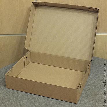 Материалы для творчества ручной работы. Ярмарка Мастеров - ручная работа Коробка 40х30х8 из микрогофрокартона цвета крафт. Handmade.