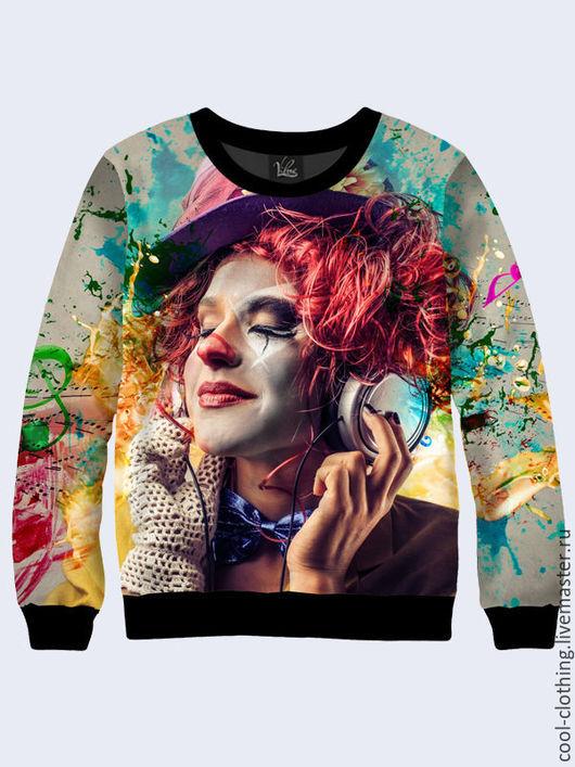 """Кофты и свитера ручной работы. Ярмарка Мастеров - ручная работа. Купить Свитшот """"Девушка- клоун"""". Handmade. Рисунок, кофта"""
