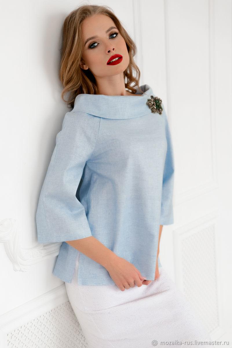 """Блузки ручной работы. Ярмарка Мастеров - ручная работа. Купить Блуза """"Леди лайк"""" в голубом. Handmade. Голубой, утонченность"""