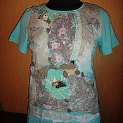 Одежда handmade. Livemaster - original item Blouse  turquoise Wool silk felted. Handmade.
