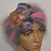 Аксессуары handmade. Livemaster - original item Headband hat with knitted flower down