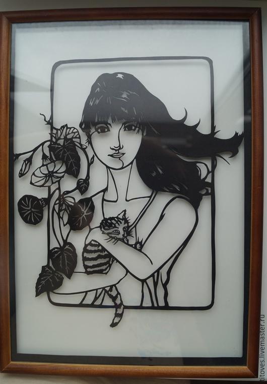 """Люди, ручной работы. Ярмарка Мастеров - ручная работа. Купить """"Девушка с кошкой"""". Handmade. Кирие, картина, рамка, подарок"""