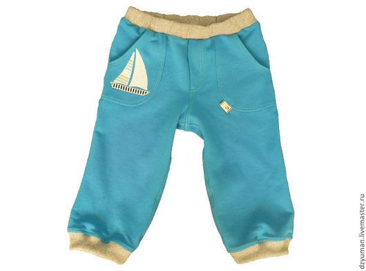 """Одежда для мальчиков, ручной работы. Ярмарка Мастеров - ручная работа. Купить Бриджи для мальчика """"Парусник"""". Handmade. Синий, Аппликация"""