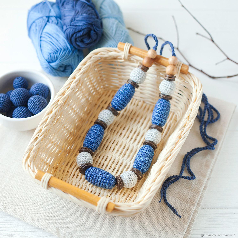 Слингобусы синие джинсовые с серым, вязаные бусы, мамабусы, Слингобусы, Рязань, Фото №1