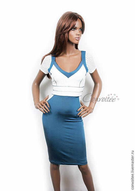 Платья ручной работы. Ярмарка Мастеров - ручная работа. Купить Трикотажное платье в морской гамме. Handmade. Трикотажное платье