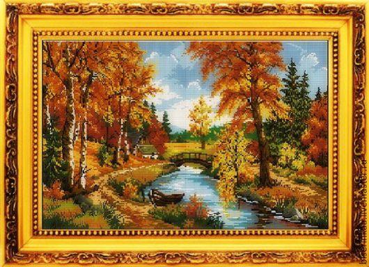 Схема для вышивки бисером `Осень у реки` с полной зашивкой