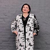 Одежда handmade. Livemaster - original item Coat jacket black woolen lining on the black-and-white sleeve. And. Handmade.