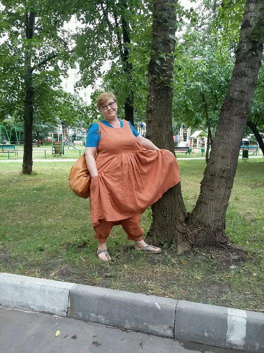 Костюмы ручной работы. Ярмарка Мастеров - ручная работа. Купить Бохо-костюм из рыжего льна. Handmade. Бохо, платье летнее