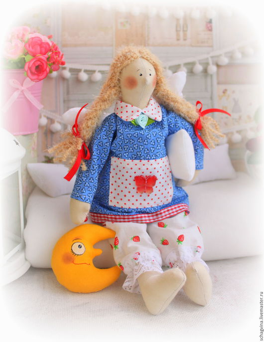 Куклы Тильды ручной работы. Ярмарка Мастеров - ручная работа. Купить Сонный ангел Нюрочка+Месяц. Handmade. Сонный ангел, в горошек