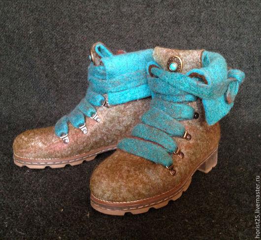 """Обувь ручной работы. Ярмарка Мастеров - ручная работа. Купить Валяные ботинки """"Весна в Париже"""". Handmade. Оливковый, Ботинки из войлока"""