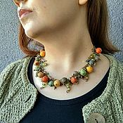 Necklace handmade. Livemaster - original item Short Beads Chain Necklace Green Red Beads Textile Autumn. Handmade.