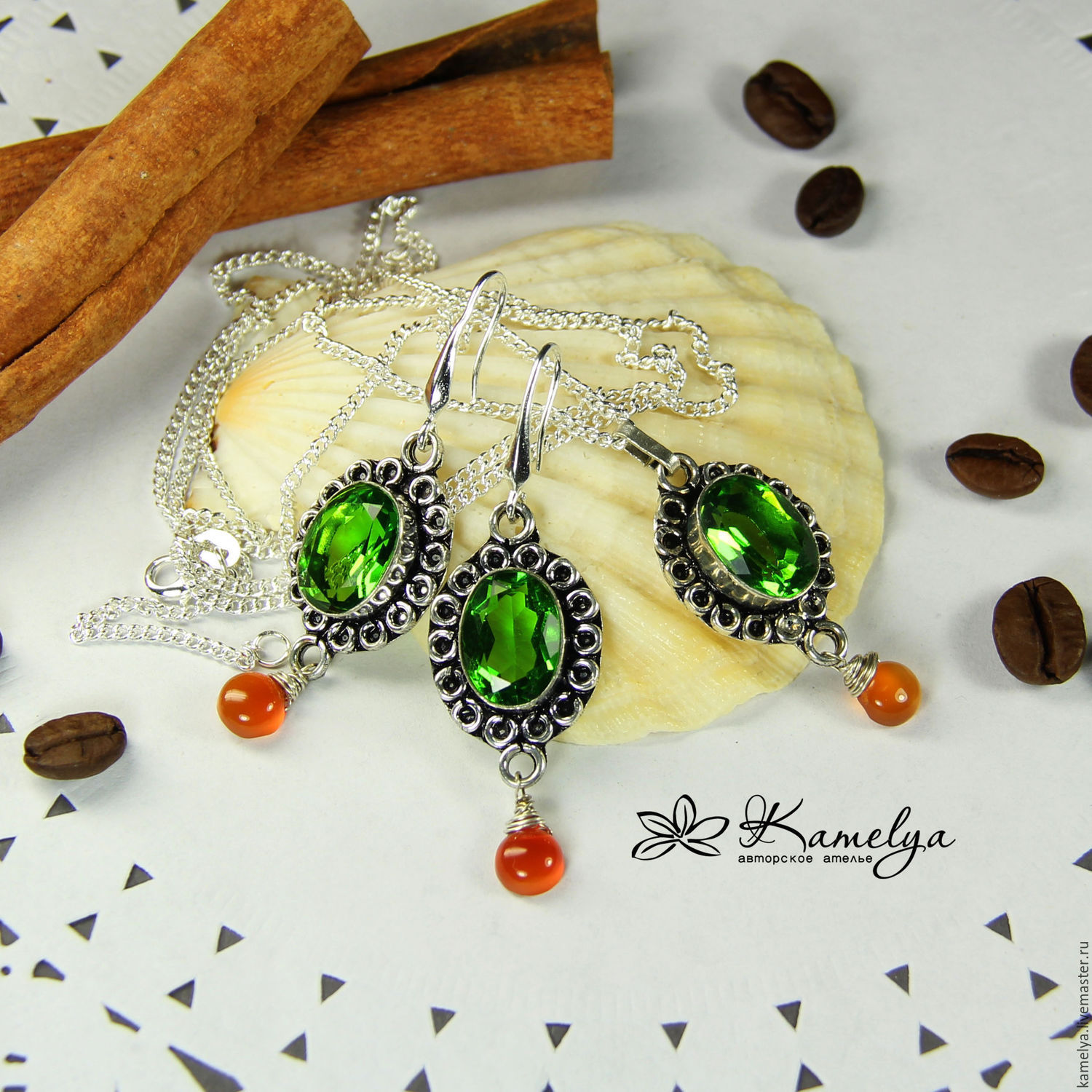 Set of earrings and necklace ' Bright moments', Jewelry Sets, Yaroslavl,  Фото №1