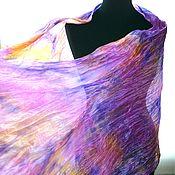 Аксессуары handmade. Livemaster - original item Bright scarf stole pressed silk pink lilac yellow as a gift. Handmade.