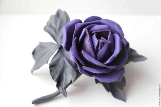 Броши ручной работы. Ярмарка Мастеров - ручная работа. Купить Фиолетовая Роза Брошь из кожи. Цветы из кожи. Handmade.