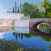 "Картины и панно handmade. Livemaster - original item Painting ""Pond in an old park,"" 70x95 cm с., о.. Handmade."