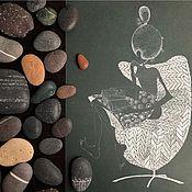 Картины ручной работы. Ярмарка Мастеров - ручная работа Девушка с книжкой в кресле Egg Chair.(1958) Arne Jacobsen. Handmade.
