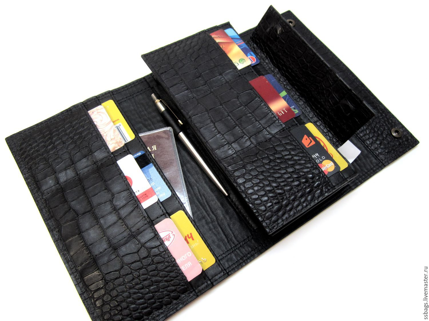 Purse-clutch No. 3. Black Caiman.Large leather purse, Wallets, St. Petersburg,  Фото №1