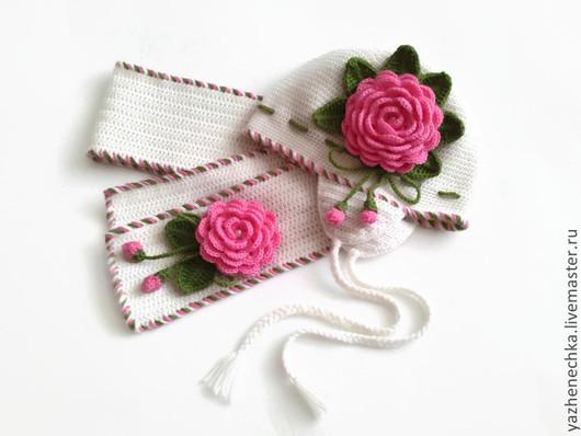 Шапки и шарфы ручной работы. Ярмарка Мастеров - ручная работа. Купить Шапка и шарф из шерсти для девочки. Комплект Розовые розы. Handmade.
