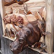 """Картины ручной работы. Ярмарка Мастеров - ручная работа Панно """"Бегемот"""". Handmade."""