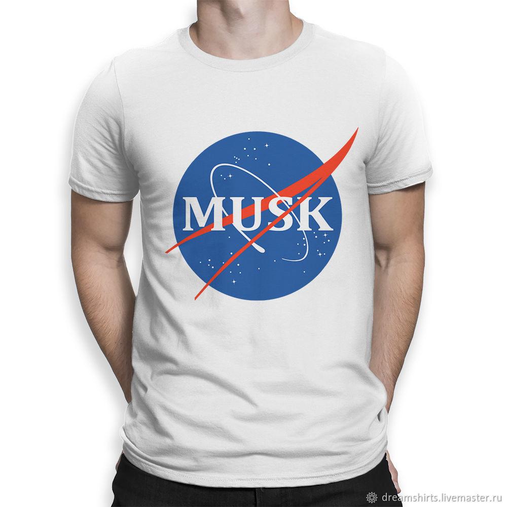 "Футболка хлопковая ""Илон Маск - NASA"", T-shirts, Moscow,  Фото №1"