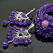 Украшения handmade. Livemaster - original item Amethyst Bracelet Amethyst Chandelier Earrings. Handmade.