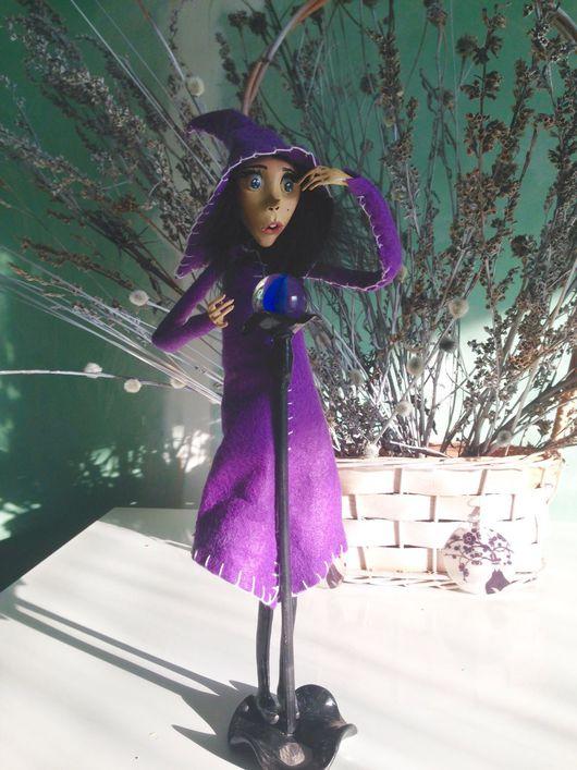 Коллекционные куклы ручной работы. Ярмарка Мастеров - ручная работа. Купить Ведьмочка с магическим шаром. Handmade. Ведьма, волшебница