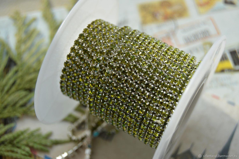 Rhinestone chain 2mm Olive silver, Chains, Stavropol,  Фото №1