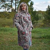 Одежда ручной работы. Ярмарка Мастеров - ручная работа Бронь Пальто валяное Утро туманное   серое  с принтом шерсть 100% шёлк. Handmade.