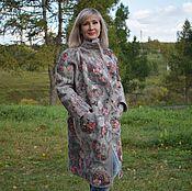Пальто валяное Утро туманное серое с принтом шерсть 100% шёлк