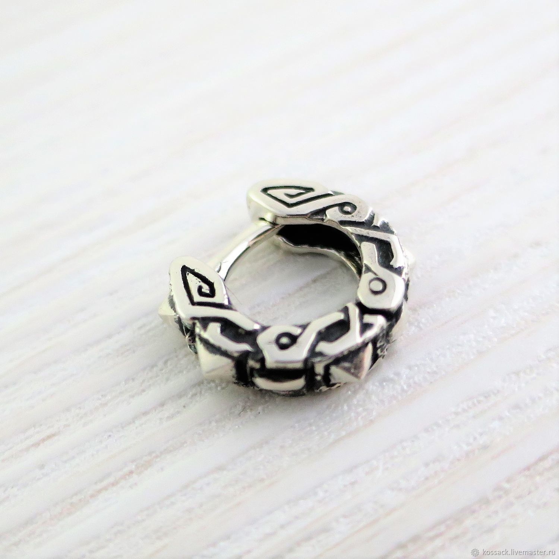 Earrings Handmade Livemaster Mens Earring Silver Geometric Abstraction