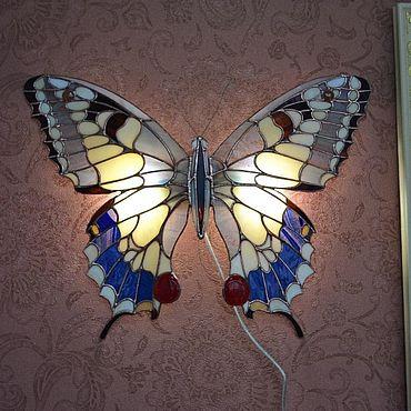 Для дома и интерьера ручной работы. Ярмарка Мастеров - ручная работа Витражи: Светильник ночник Бабочка. Handmade.