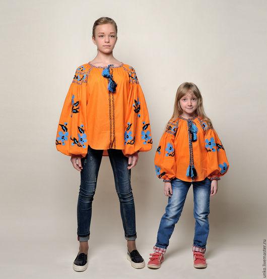 """Блузки ручной работы. Ярмарка Мастеров - ручная работа. Купить Этническая блуза""""БАРВИНОК"""". Handmade. Оранжевый, дочка, вышивка, орнамент"""