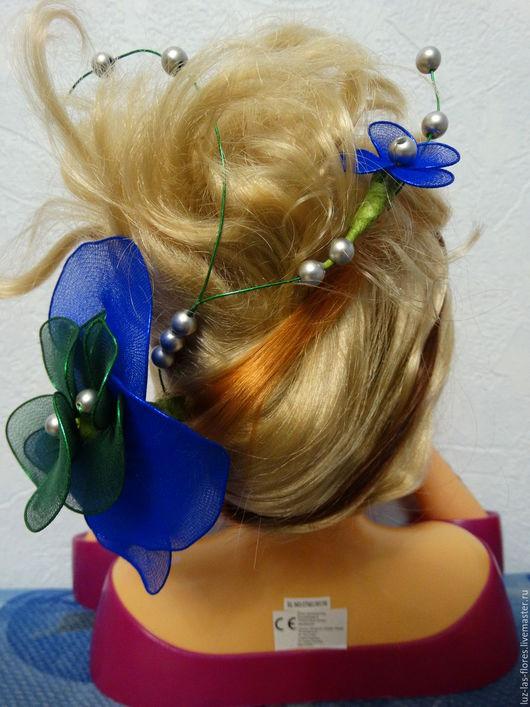 """Заколки ручной работы. Ярмарка Мастеров - ручная работа. Купить Украшение для волос """"Фиалка"""". Handmade. Украшение для волос, капрон"""