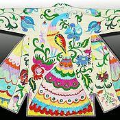 Одежда ручной работы. Ярмарка Мастеров - ручная работа Узбекский вышитый шелком национальный халат, чапан A5802. Handmade.